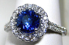 Blue Sapphire Ring 18K white gold Halo Diamond 1.84ct CERTIFIED Ap $8,947