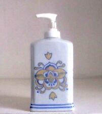 Portasapone liquido ceramica decorato bianco shabby bagno cucina fiore