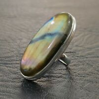 Labradorite Ring Solid 925 Sterling Silver Band Ring Meditation Ring Size SRR21