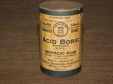 Vintge Medicine Monarch Troy Ny Acid Boric Boracic Antiseptic Cardboard Can