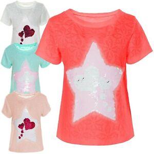 Mädchen Wende-Pailletten T-Shirt Bluse Unter Kurzarm Shirts Hemd Stern 21115