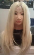 Blonde  Human Hair, Wig, Blend, Ombré, 613, Long, skin like top