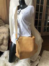 BOSCA Pebbled Leather Metallic Gold Messenger Briefcase Laptop Bag Crossbody LUX