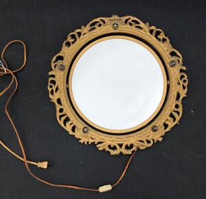 RARE! Vintage Gold *Plastic Hollywood Regency MIRROR Antique Vanity ~SWIVEL