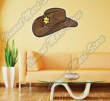 Old Western Sheriff Hat Wild West Cowboy Wall Sticker Room Interior Decor 25X20""