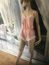 Vintage Sexy Teddy Romper Silk Peach Pink  Snap Crotch Lingerie Size 36