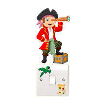 Pirate Light Switch Wall Stickers Children's Bedroom Treasure Map Parrot Fun