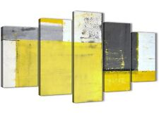 XL Yellow Grey Abstract Painting Canvas Wall Art - 5 Piece - 160cm Wide - 5346