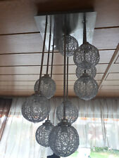 Deckenlampe, Deckenleucht, Drahtkugel 9 flmg. silber Kugellampe Kugeln