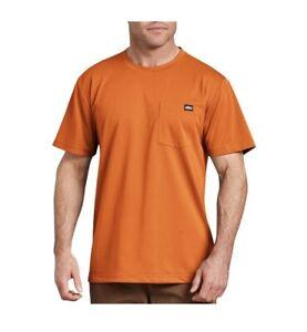 Genuine Dickies Mens M Performance Short Sleeve Pocket T-Shirt Orange Wicking
