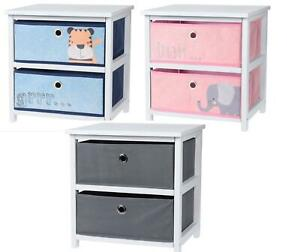 White Wooden Chest 2 Drawers Cabinet Bedside Table Storage Grey Pink Blue Fabric