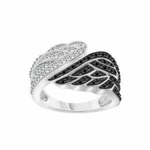 Enchanted Disney 1/2Cttw White & Black Diamond Angel Wing Engagement Ring Silver