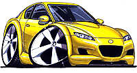 RX-8 Cartoon Yellow T-shirt renesis RX8 wankel mazda available in sizes S-3XL