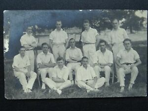 Sussex Portrait of CRICKET TEAM Old RP Postcard by Malcolm McNeille CHICHESTER