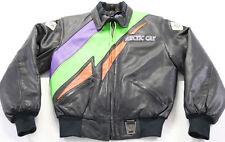 vintage womens arctic cat leather jacket m black purple orange green zip up nice