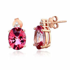 14K Rose Gold 3.5 Ct Oval Pink Topaz Earrings 0.07Ct Natural Diamonds
