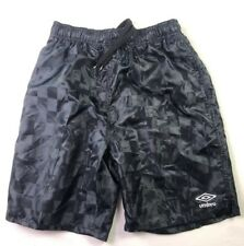 Vtg 80s 90s UMBRO Shiny Navy Checkered Mens MEDIUM Nylon  Soccer shorts Small