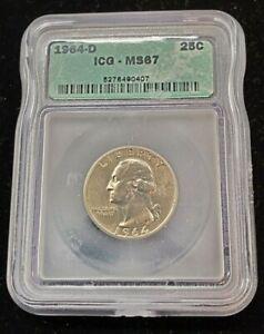 1964 D Washington Silver Quarter Coin ICG MS67 Gem BU Uncirculated