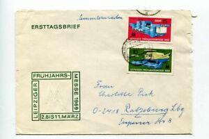 6776) DDR 1969 FDC Cover Leipzig Spring Fair 2v