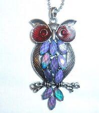 """Gorgeous OWL MOOD Color Change Silver Pendant Necklace 16"""" +"""