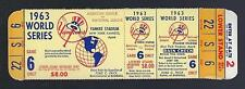 1963 WORLD SERIES LA DODGERS @ NEW YORK YANKEES FULL UNUSED BASEBALL TICKET GM#6