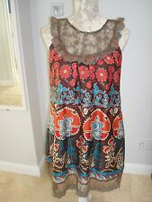Ladies DANITY Brown Lace Mutli Floral Sleeveless Smock Top Tunic Mini Dress S-M