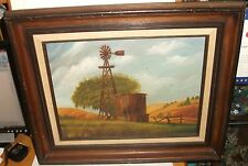 E.EDWARDS WINDMILL WATER TANK HAY FARM LANDSCAPE OIL ON CANVAS PAINTING