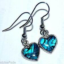 LOVELY NEW ABALONE PAUA SHELL ROMANTIC HEART EARRINGS #E10