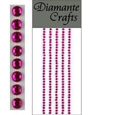 165 x 3mm Hot Pink Diamante Self Adhesive Strips Rows Rhinestone Craft Gems