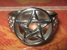 NEW PENTACLE STAINLESS STEEL CELTIC WICCAN PAGAN PENTAGRAM RING SIZE 7-9