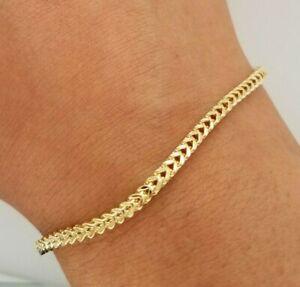 "10K Yellow Gold 2.5 mm Franco Chain Bracelet 7"" 8""  Men Women 2.8 - 3.3 grams"