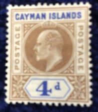 Cayman Islands Edward VII 4d Definitives SG 13 Cat. Value £40 In 2016