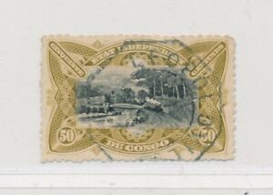 D141593 Belgian Congo VFU Train on Railroad Bridge on M'pozo 1894 50 c