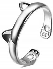 Solid 925 Sterling Silver Cats Ears Ajustable Stacking Ring
