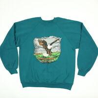Vtg 90s Landing Eagle Raglan Sweatshirt LARGE Faded Green Grunge Skate Surf