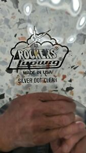 """Vintage 1970s Ludwig Rockers 12"""" Clear Silver-Dot Drumhead out of box"""