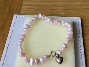 Genuine Sterling Silver Pink Freshwater Cultured Pearls Bracelet.