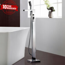 Floor Mounted Bath Shower Mixer Fill Tap Freestanding Square Waterfall Chrome UK