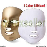 LED Photon Facial Mask Acne Skin Rejuvenation Light Therapy 7 Colors Gold White