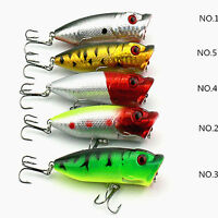 5PC 6.5cm Suspending Topwater Popper Minnow Freshwater Fishing Lures Tackle Hook