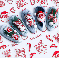3D Nail Art Transfer Stickers Christmas Santa Claus Decal Manicure Tips Decor FA