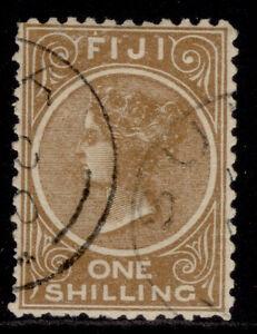 FIJI QV SG67a, 1s brown, FINE USED. Cat £12. PERF 11 X 11¾