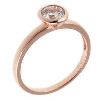 Damenring echt Silber 925 rosegold Zirkonia weiß Fingerring schmaler Silberring