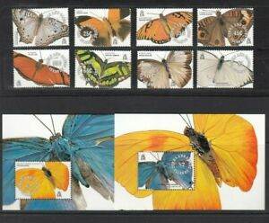 Turks And Caicos, 1991 Butterflies 979-86, Block 99-100, (32576)