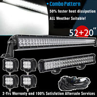 """LED Light Bar 52inch + 22inch + 4inch Combo Pods For   Ford ATV Truck 55"""" 52"""""""