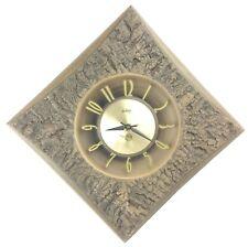 "Vtg Burwood 23"" Diamond Shape Wall Clock Simulated Wood Bark Arabesque 1960's"