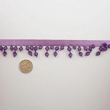 Beaded Trim 1 metre Lavendar Ribbon Purple Bicone and Seed Beads New