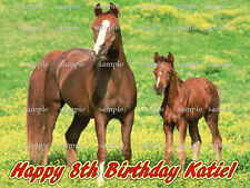 HORSE Birthday Custom Edible ICING Image CAKE Topper FREE SHIPPING