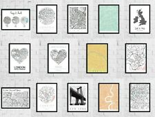 Personalised Bedroom City Place Circle Wall Decor Print Wall Saying Poster Map