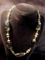 "ANTIQUE VICTORIAN CHUNKY GREEN SLAG GLASS BEADS AND BRASS 17"" NECKLACE"